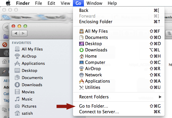 Open hidden folders in mac osx