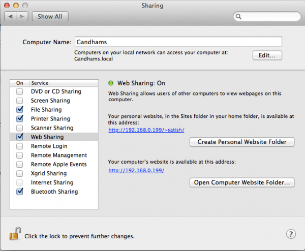 starting webserver in mac osx